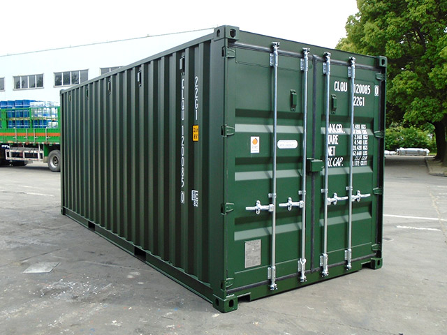 brand new green shipping container