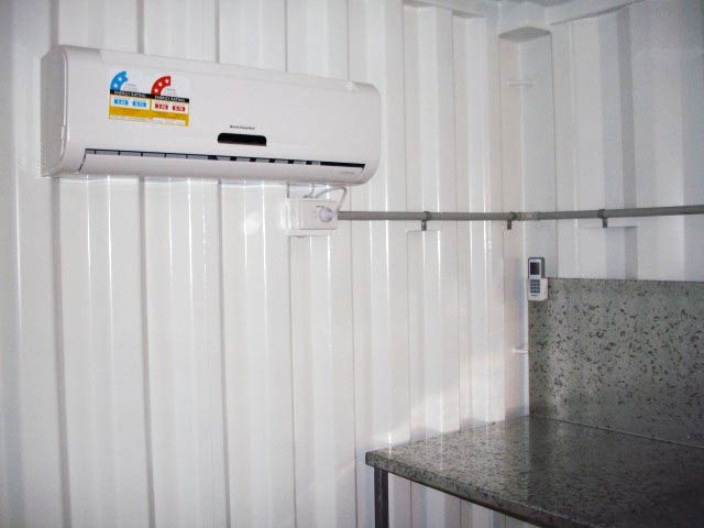 container with split system aircon