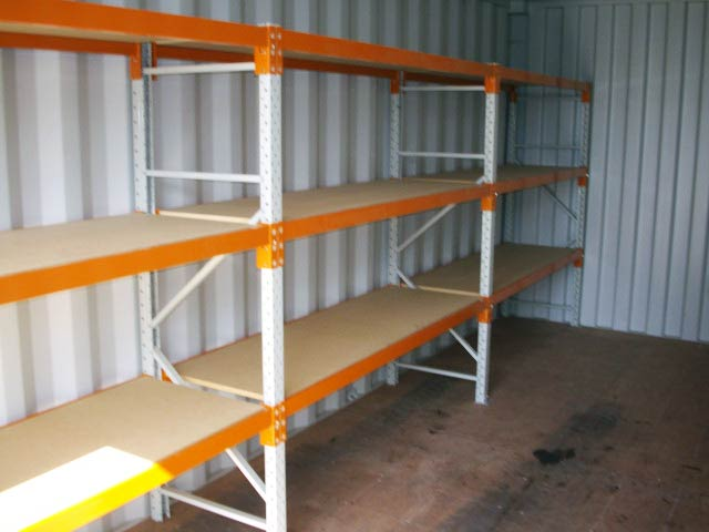 container with removable shelving